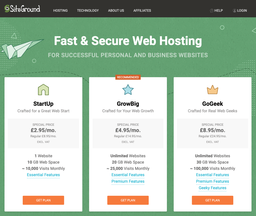Siteground hosting options