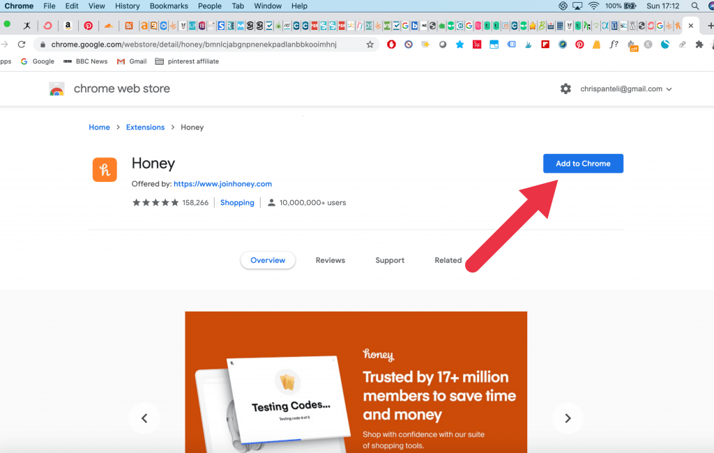 add to chrome save money with honey