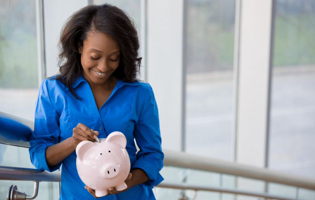 save money with honey - woman piggy bank