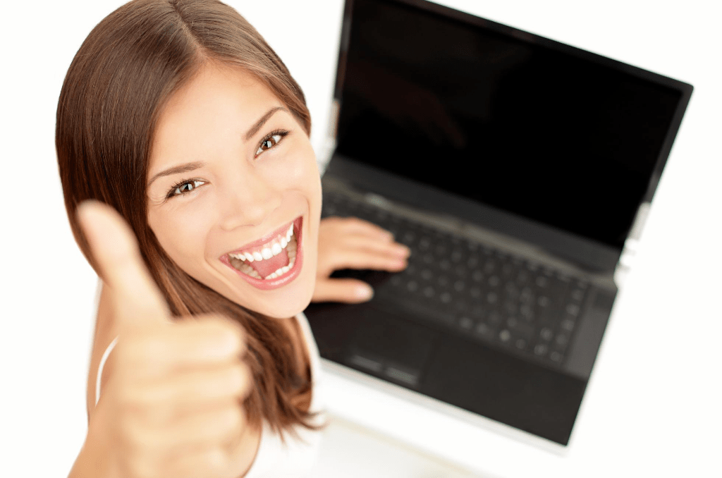 save money with honey woman laptop
