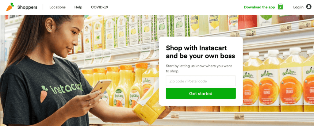 deliver food with Instacart no experience food shopper - perfect for college students