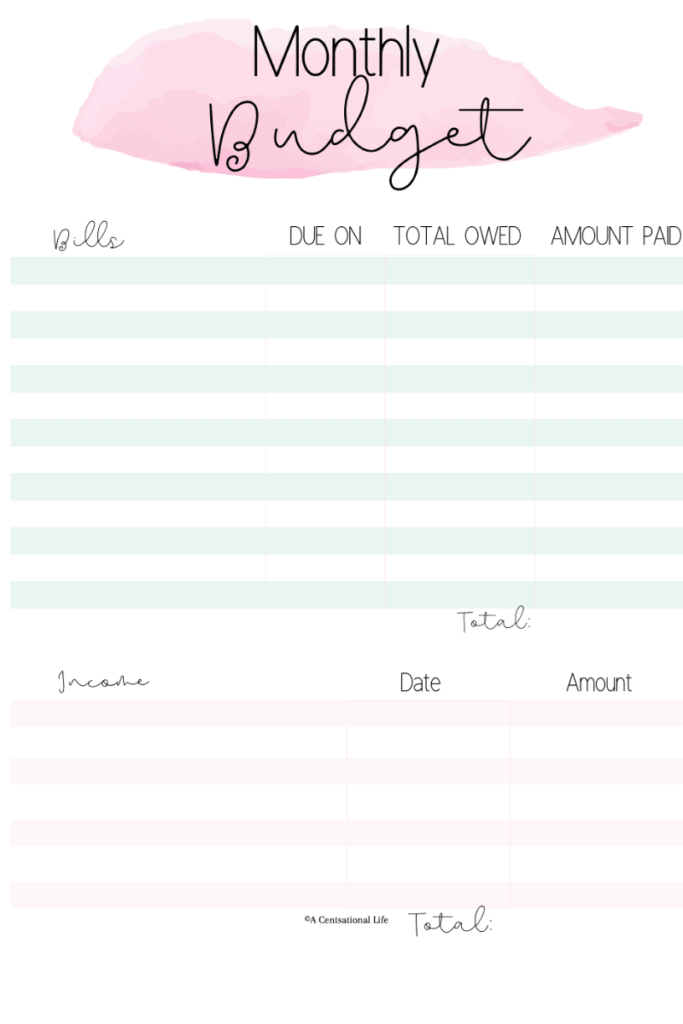 A Centsational Life Monthly Budget Planner