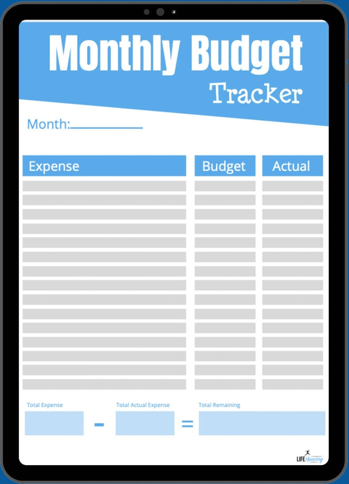 Monthly Budget Tracker sheet