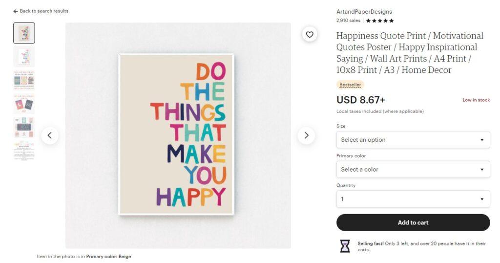 Digital art prints on Etsy