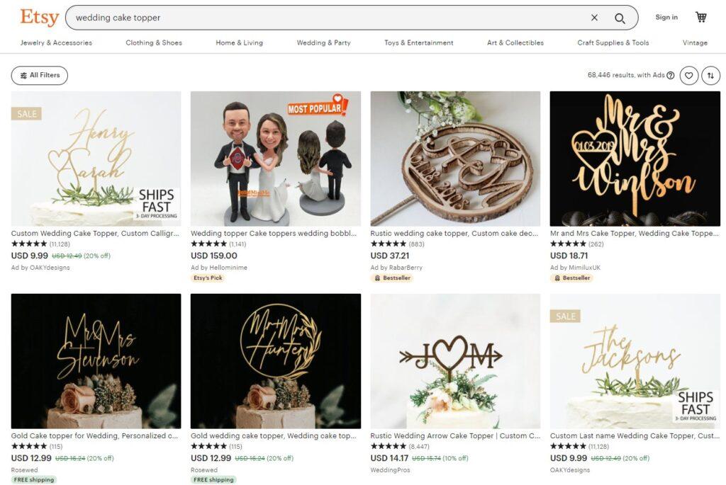Wedding products on Etsy